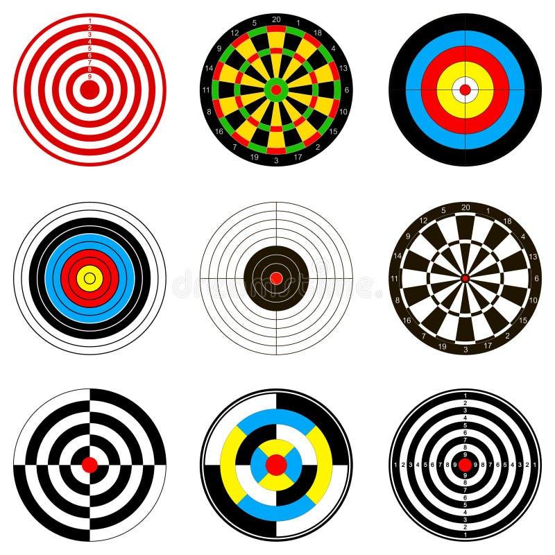 Illustrations de vecteur avec des cibles pour le jeu de dards illustration libre de droits