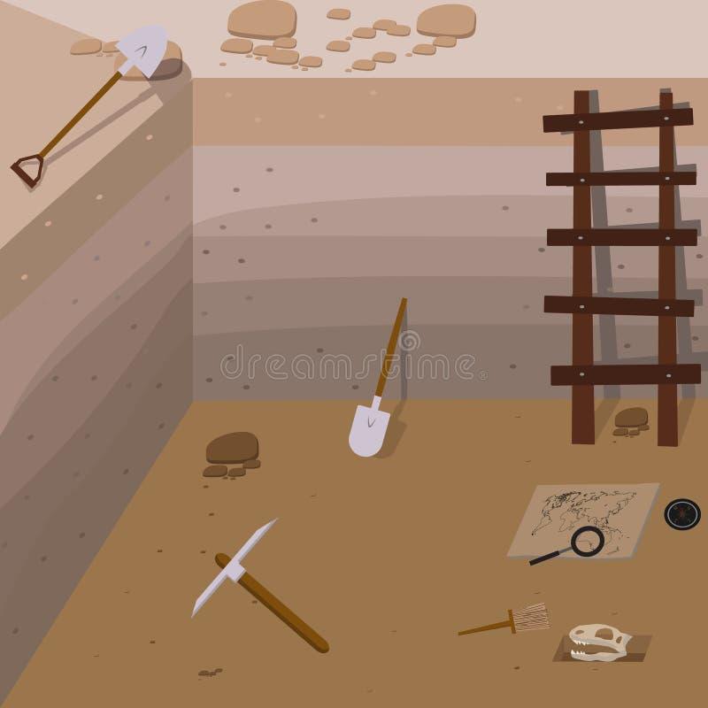 Illustrations de vecteur d'archéologie illustration stock