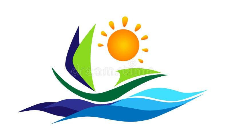 Illustrations de vecteur d'icône de logo de vague d'eau de mer du soleil de bateau de bateau sur le fond blanc illustration libre de droits