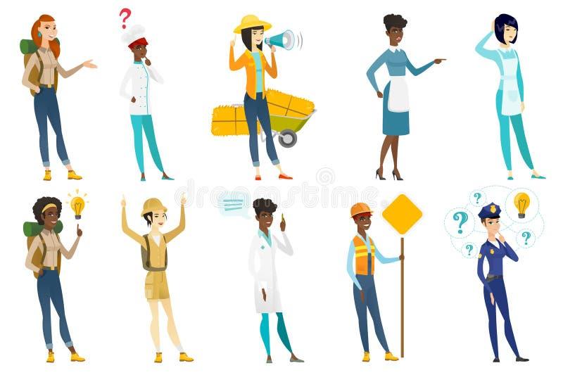 Illustrations de vecteur de femmes professionnelles réglées illustration libre de droits