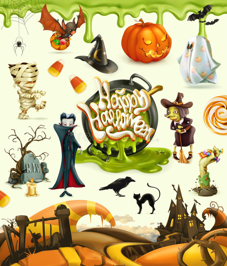 Illustrations de vecteur de Halloween 3d Potiron, fantôme, araignée, sorcière, vampire, zombi, tombe, bonbons au maïs illustration libre de droits