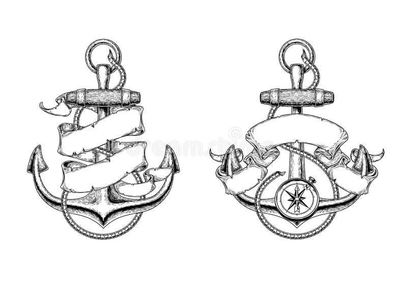 Illustrations de vecteur des ancres nautiques avec le ruban illustration libre de droits