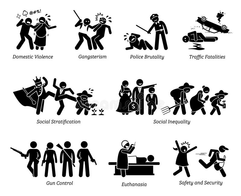 Social Problems and Critical Issues Stick Figure Pictogram Icons. Illustrations depicts domestic violence, gangster, police brutality, social inequality, gun royalty free illustration