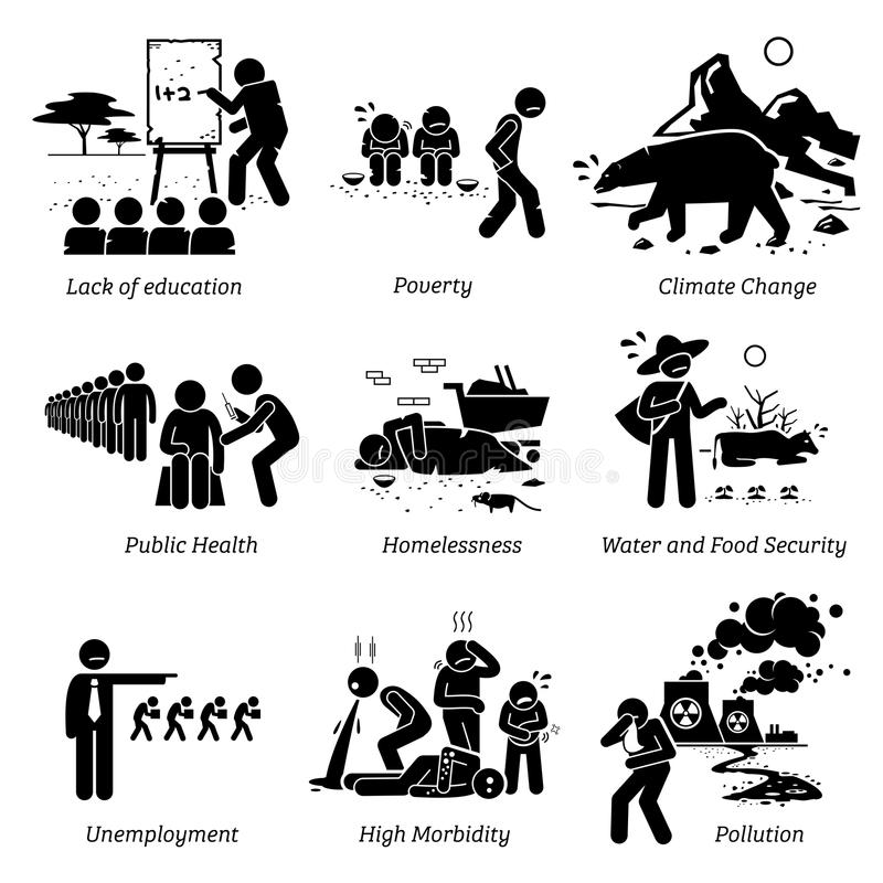 Social Issues and Critical Problems Pictogram Icons. stock illustration