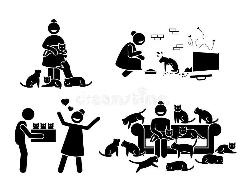Crazy Cat Lady Stick Figure Pictogram Icons. stock illustration