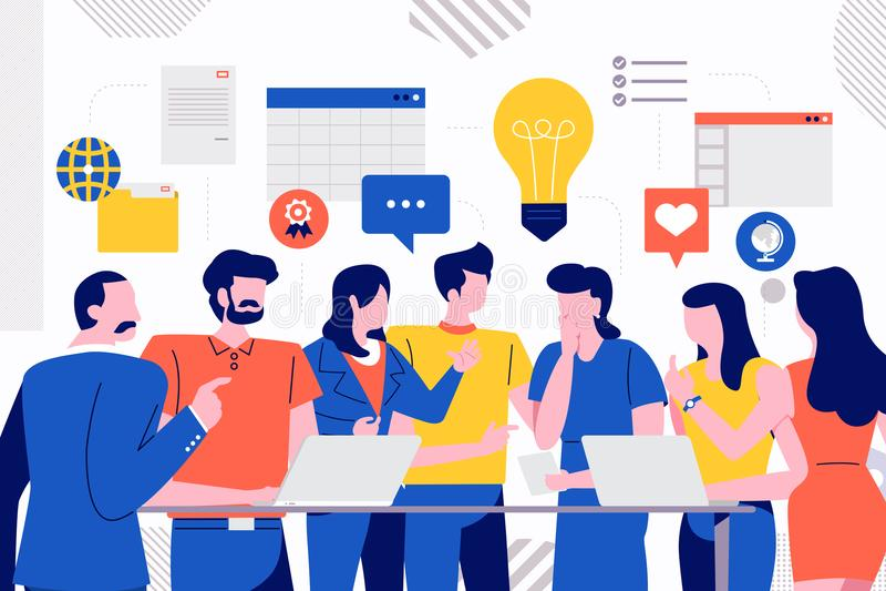 Teamwork business meeting royalty free illustration