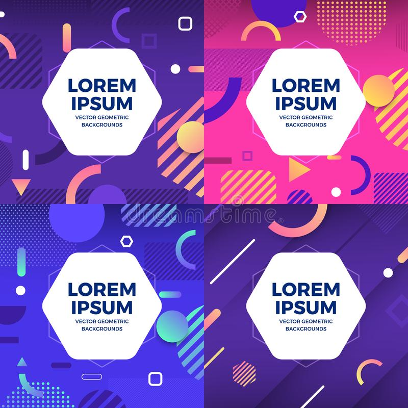 Vector set geometric background vector illustration