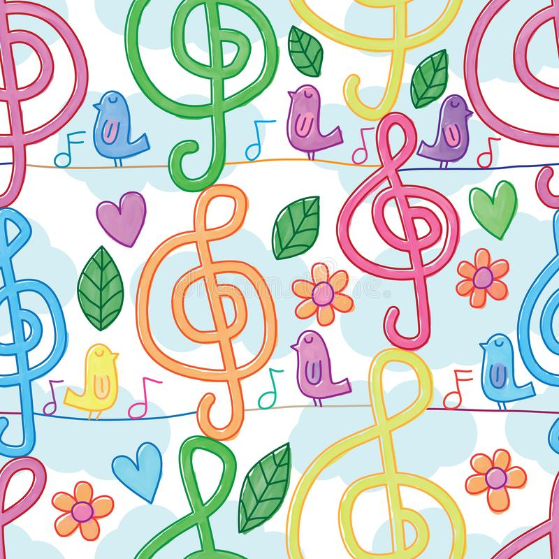 Music note watercolor vertical bird line seamless pattern vector illustration