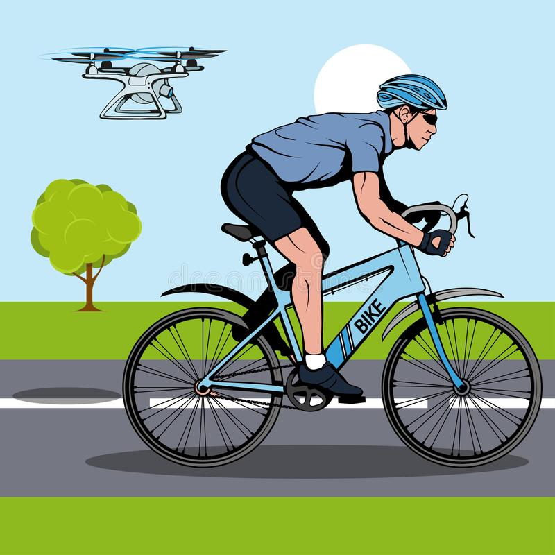 Illustrations of Drone quadrocopter. Drone flies behind a bicyclist. Drone with camera. Robotics illustration. vector illustration