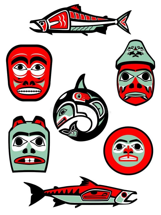 Illustrations du nord-ouest de côte illustration de vecteur