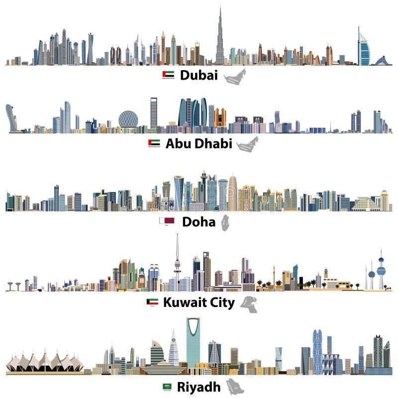 Illustrations of Dubai, Abu Dhabi, Doha, Riyadh and Kuwait city skylines with flags and maps vector illustration