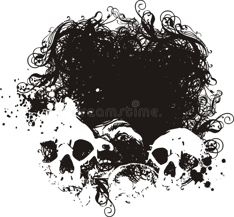 Illustrations effrayées de crânes. illustration de vecteur