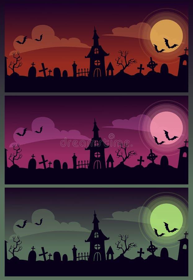 Illustrations effrayantes de bande dessinée de Halloween réglées Vieux paysage rampant de cimetière illustration libre de droits