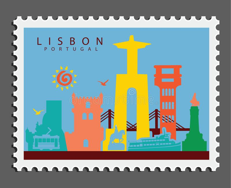 Stamp of Lisbon Portugal royalty free stock photos