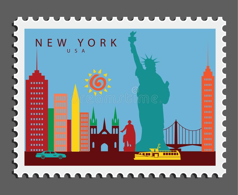 Stamp of New York USA royalty free stock photography