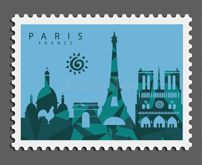 Stamp of Paris France royalty free stock image