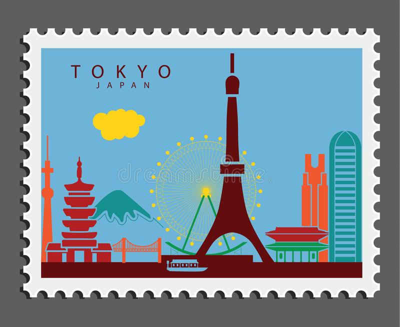 Stamp of Tokyo Japan royalty free stock photography