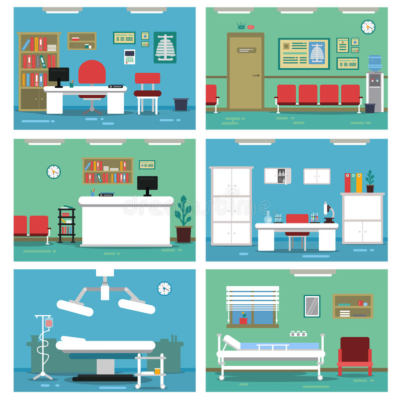Illustrations of empty medical offices. Different rooms in hospital. Vector pictures set vector illustration