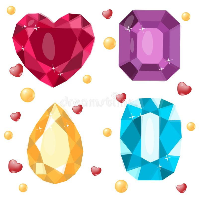 Illustrations of faceted gems, vector. Gift, decoration, card, certificate, occasion, offer, invitation. Gift, decoration, postcar. D, certificate, occasion stock illustration
