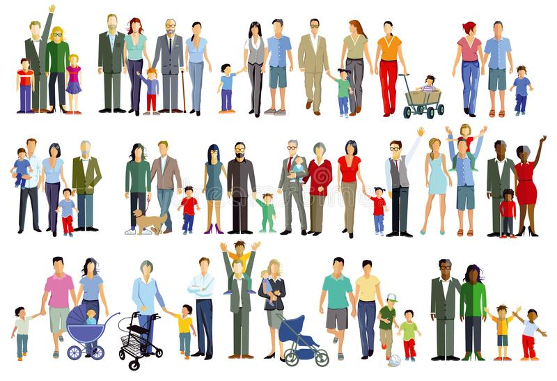 Illustrations of family groups. Colorful pictures of families including father, mother, children and grand parents and includes babies in prams the elderly with stock illustration