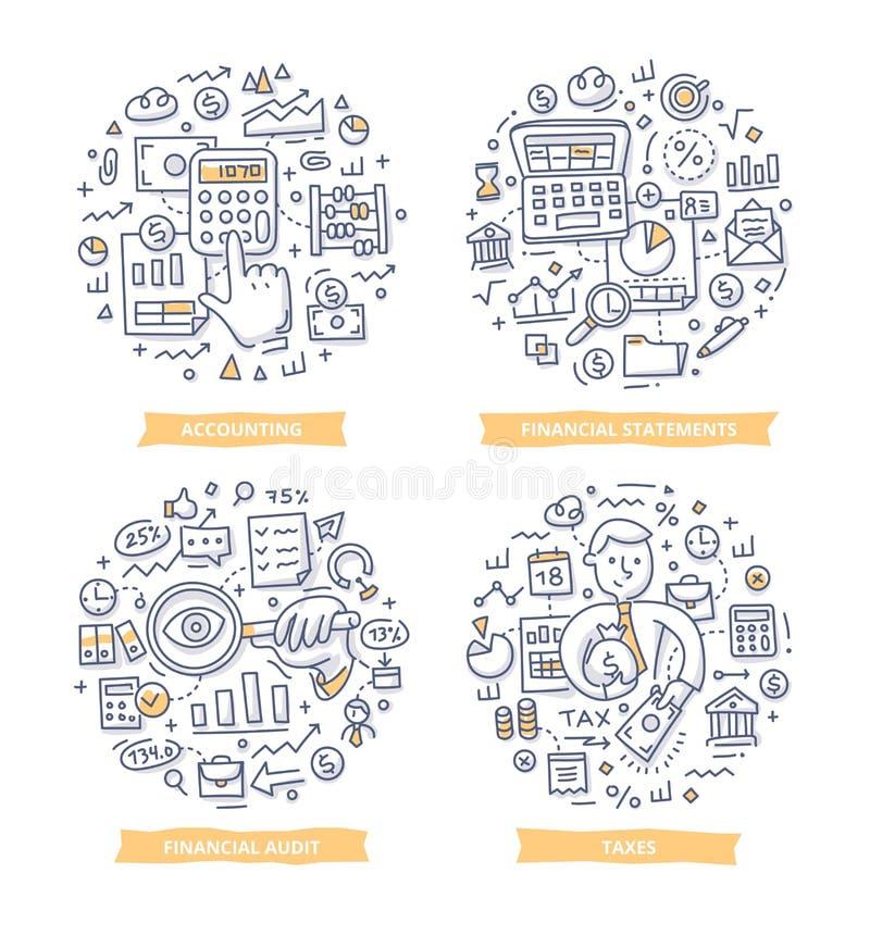 Illustrations financières de rapport et de griffonnage de comptabilité illustration libre de droits
