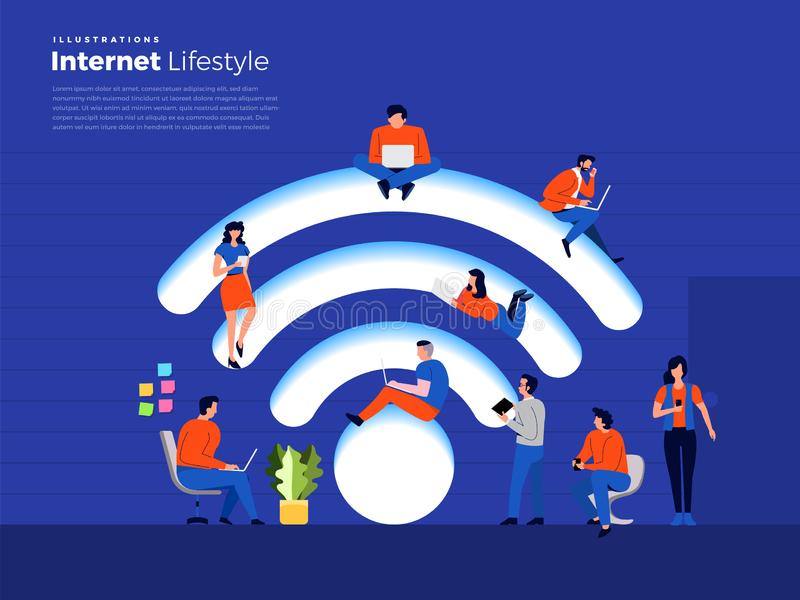 Lifestyle internet user. Illustrations flat design concept people lifestyle use smartphone and computer with wireless internet. Vector illustrate royalty free illustration