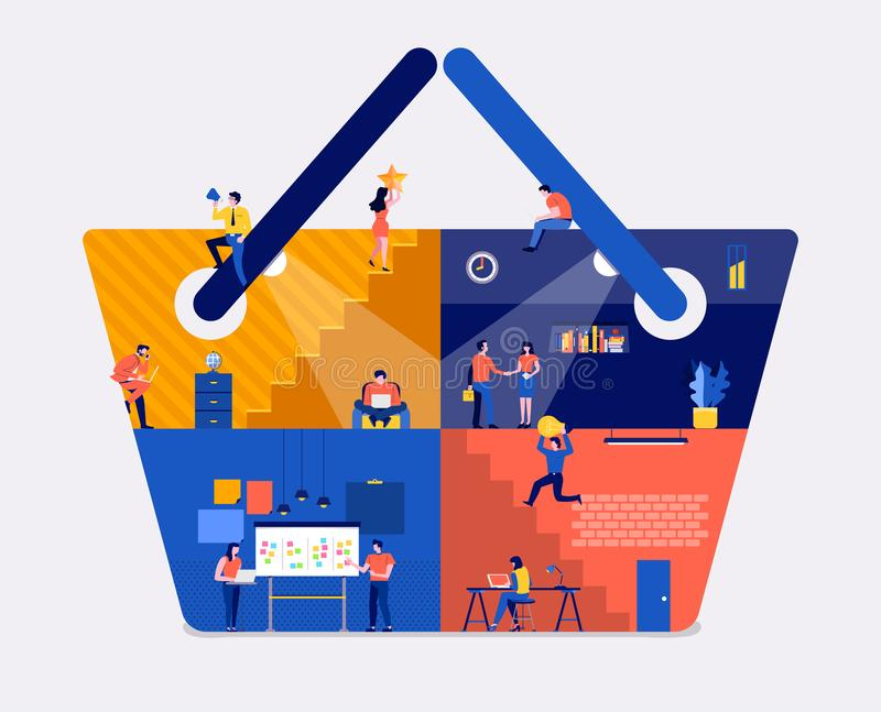 Working space online shopping vector illustration