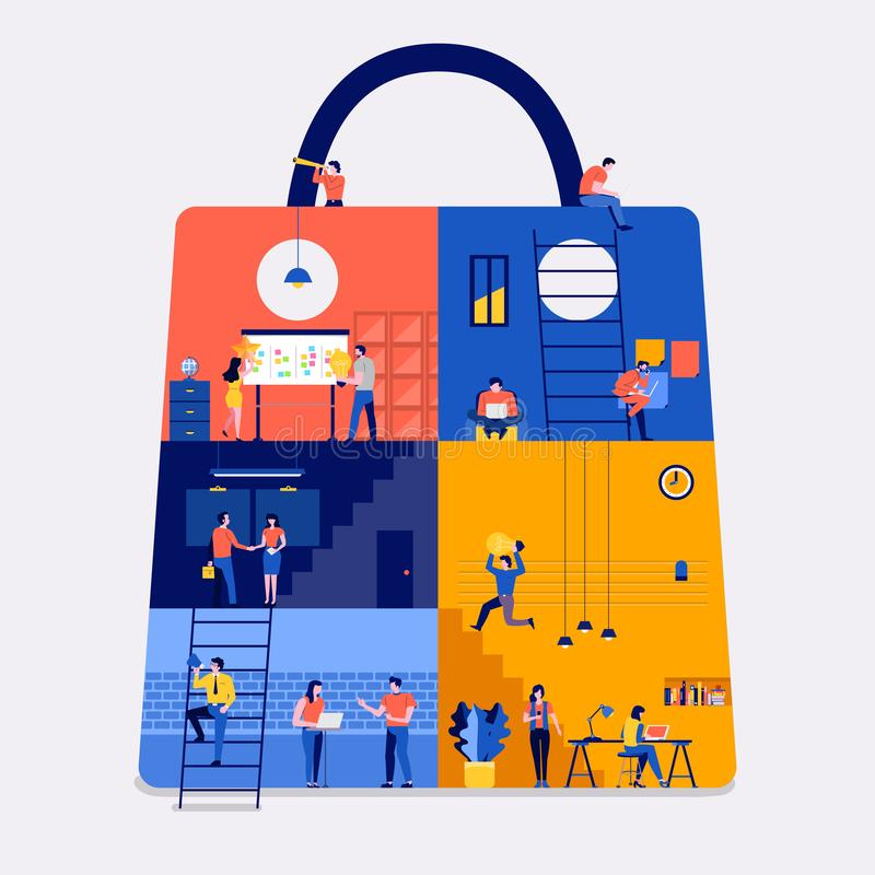 Working space online shopping stock illustration