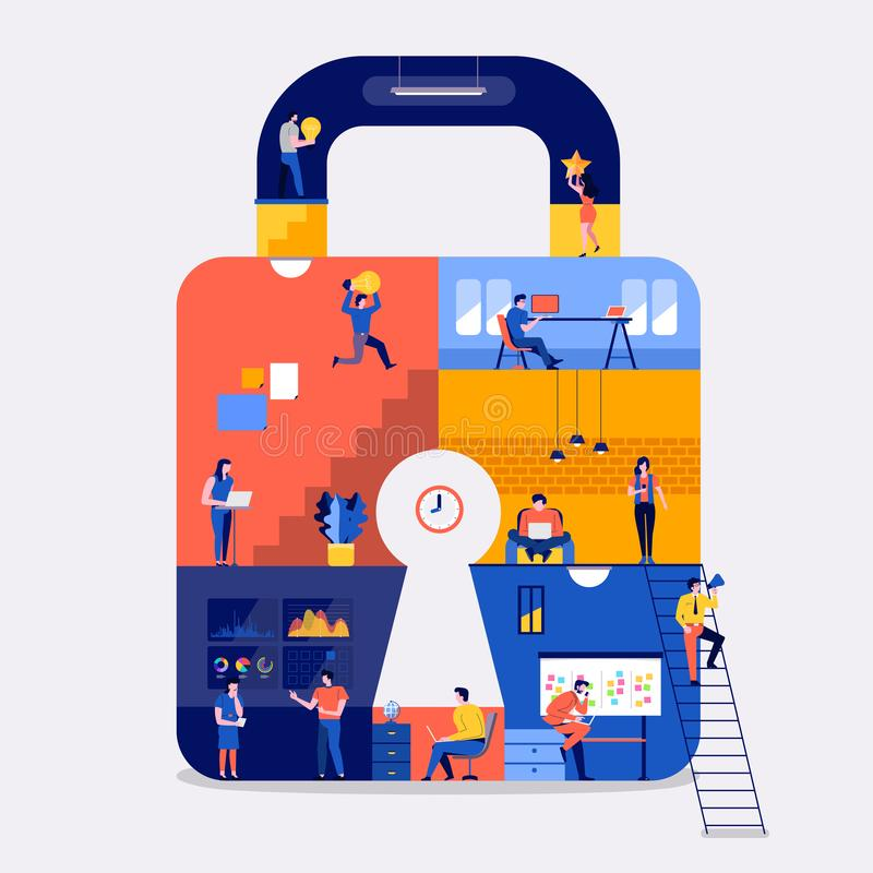 Working space online security. royalty free illustration