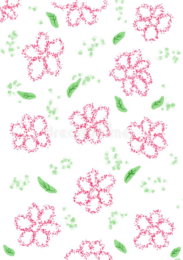Illustrations of flowers and green leave on white background. Illustrations of pink sand flowers and green leave garden on white background royalty free illustration