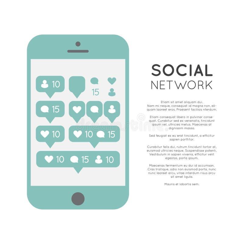Illustrations-gesetzte Blasen-Mitteilung für folgende Website, Blog, Schnittstellen, Soziales Netz und Medien, tragbares Gerät lizenzfreie abbildung