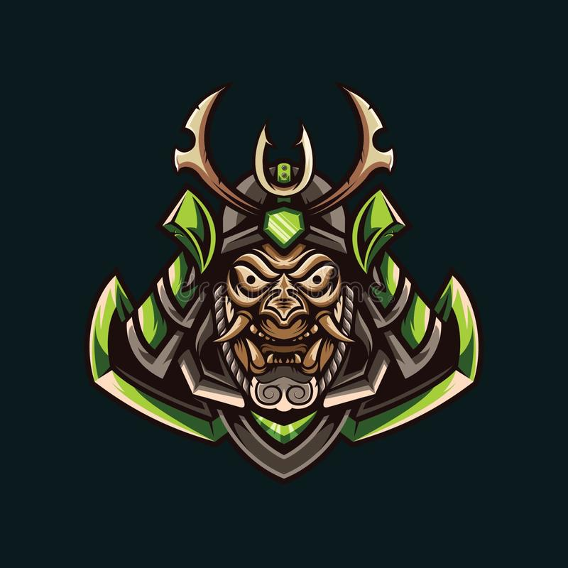 Illustrations of green samurai stock illustration