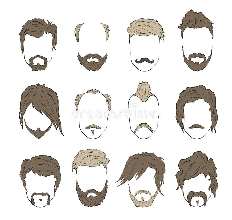 Illustrations hairstyles with a beard and mustache. Stylish and fashionable vector illustration