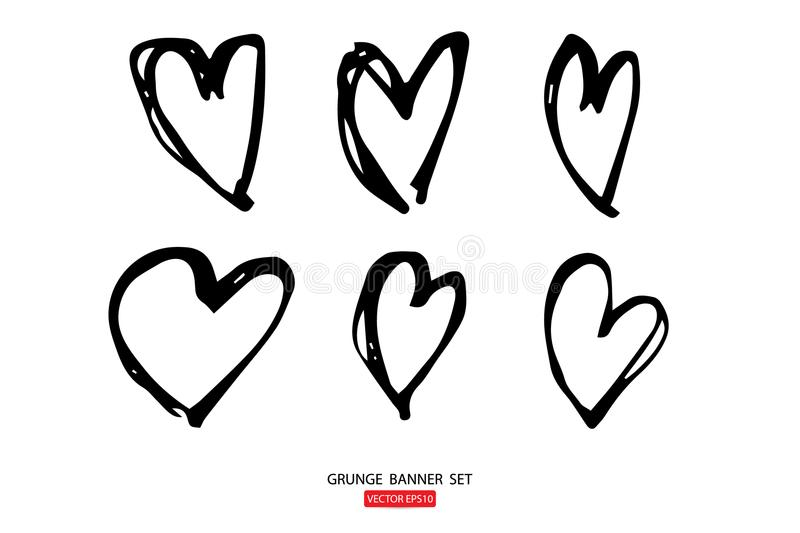 illustrations hand drawn heart Icons set for valentines and wedding stock illustration