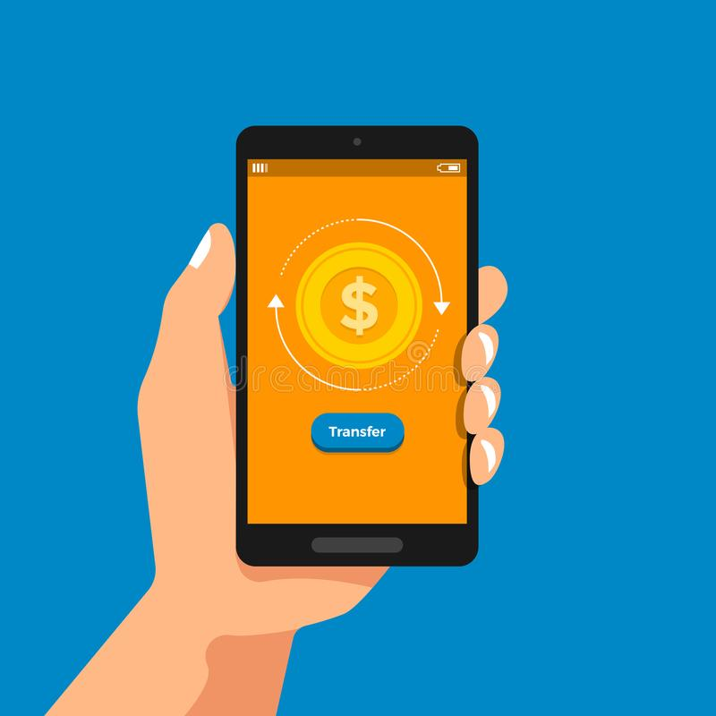 Hand hole smartphone online banking stock illustration