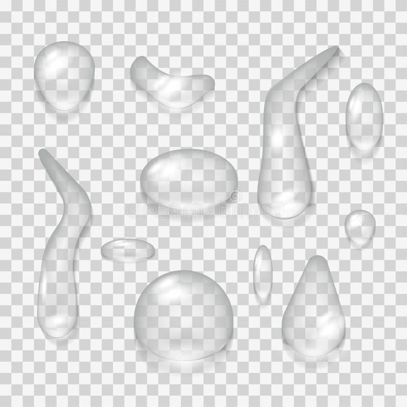 Illustrations-Hintergrundisolat des Vektors 3d des Wassertropfens realistisches gesetztes Transparentes reines Blasenflüssigkeits lizenzfreie abbildung