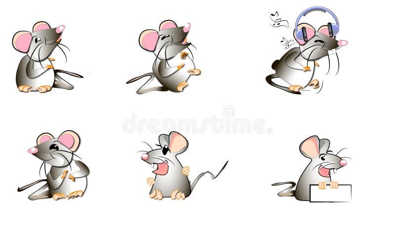 Illustrations humoristiques des émotions sur l'exemple des dessins primitifs drôles des rats et des souris images stock