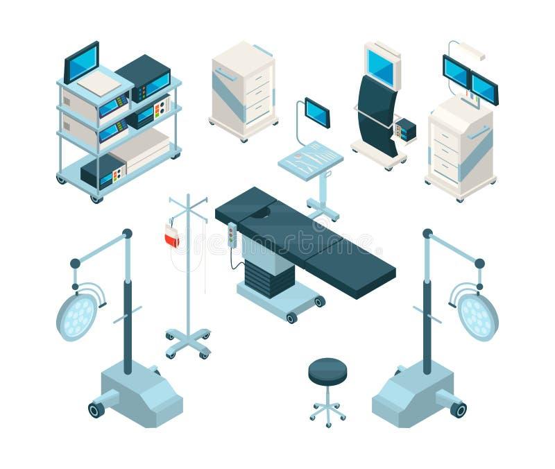 Illustrations isométriques de matériel médical dans l'opération illustration libre de droits