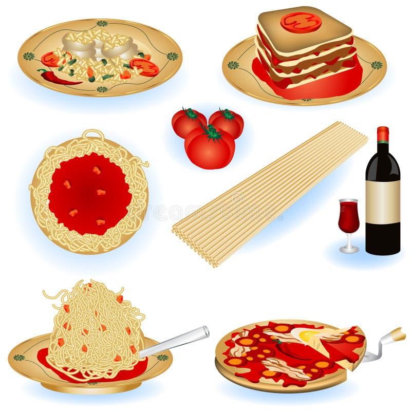 Illustrations italiennes de nourriture illustration libre de droits