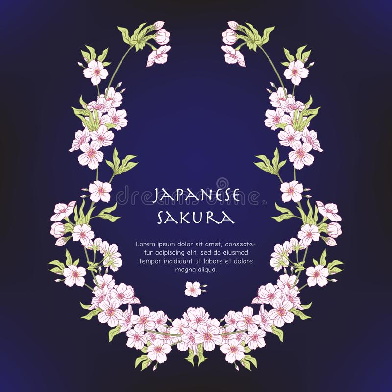Illustrations with Japanese blossom pink sakura and with place f stock illustration