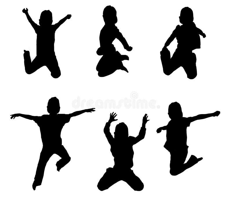 Illustrations of kids jumping stock illustration