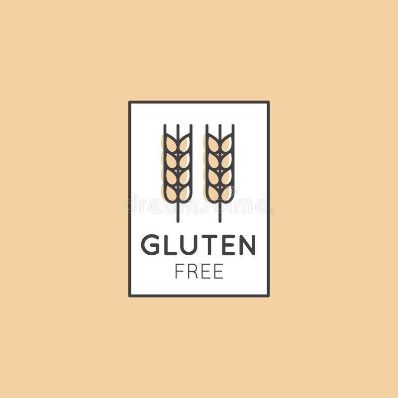 Illustrations-Logo Set Badge Ingredient Warning-Aufkleber-Ikonen-Gluten-Weizen geben frei stock abbildung