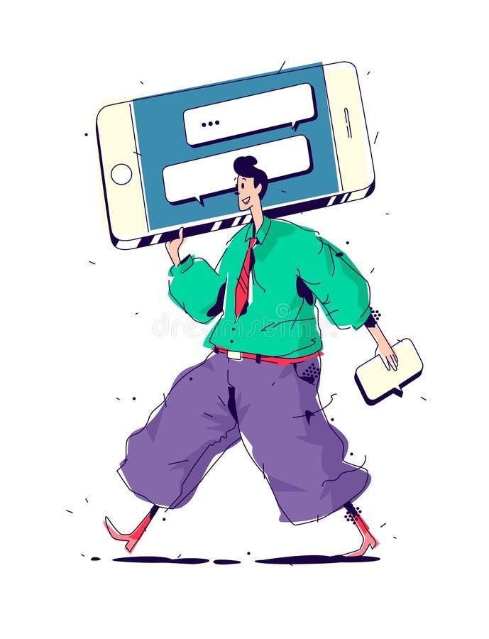 Illustrations-Männer mit großem Smartphone Vektor Manager und Mitteilungen im Schwätzchen, Anzeigen über SMS sendend Bild wird ge stock abbildung