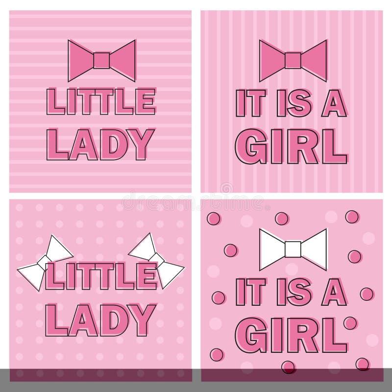 Illustrations-Mädchen-Babyparty-Einladungs-Karte mit rosa Bogen-Band - Vektor stock abbildung