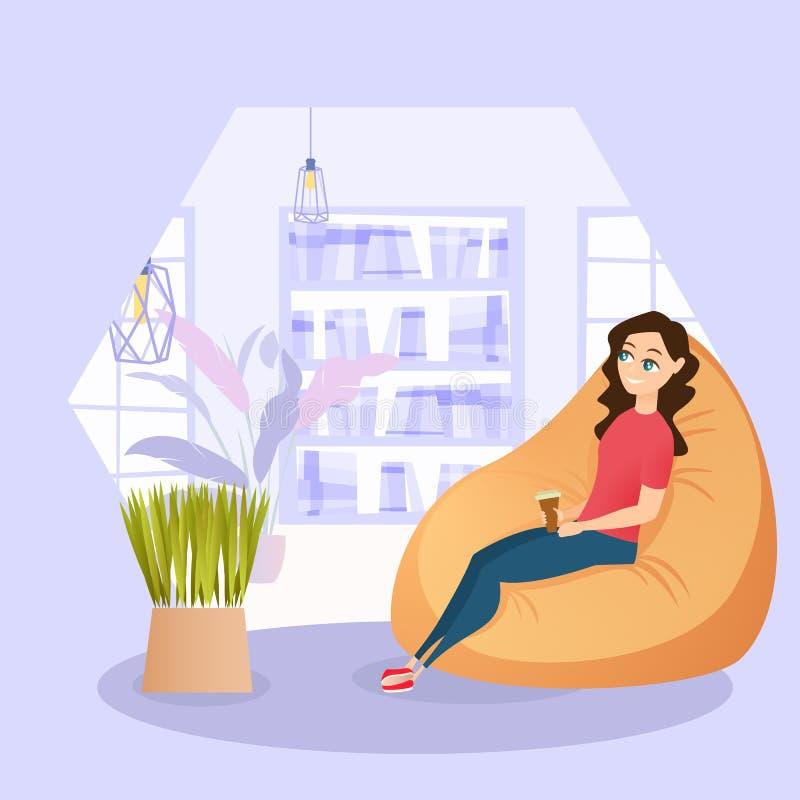 Illustrations-Mädchen, das im Stuhl mit Schalen-Kaffee stillsteht lizenzfreie abbildung