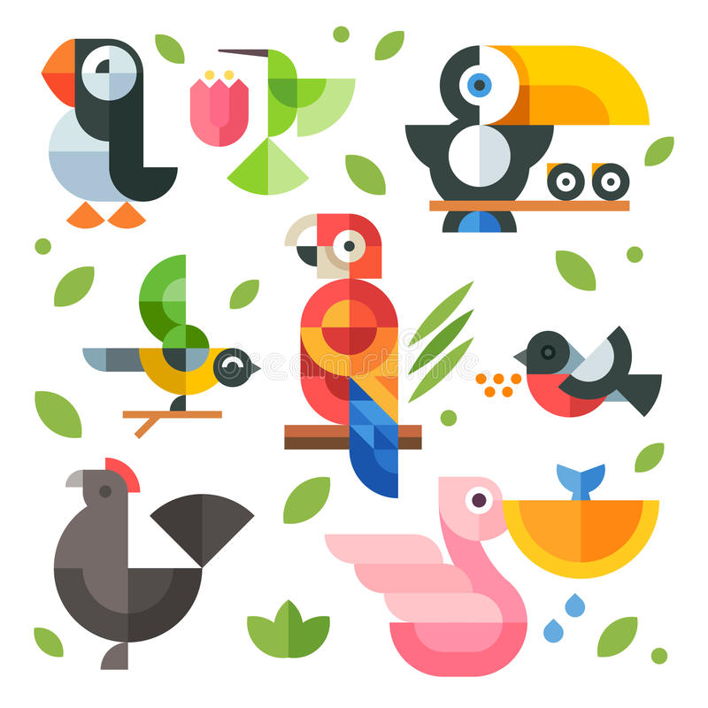 Illustrations magic birds and chicks. Color vector flat icon set and illustrations magic birds and chicks: toucan sitting on a branch, pelican fishing vector illustration