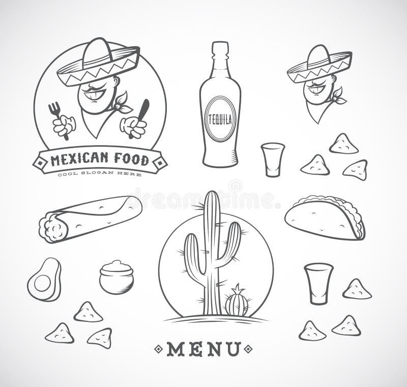Illustrations mexicaines de vecteur de nourriture réglées avec Logo Template pour le menu de restaurant, café, la livraison de re illustration stock