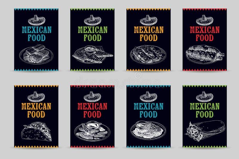 Illustrations mexicaines tirées par la main de croquis de nourriture de vecteur de vintage réglées illustration stock