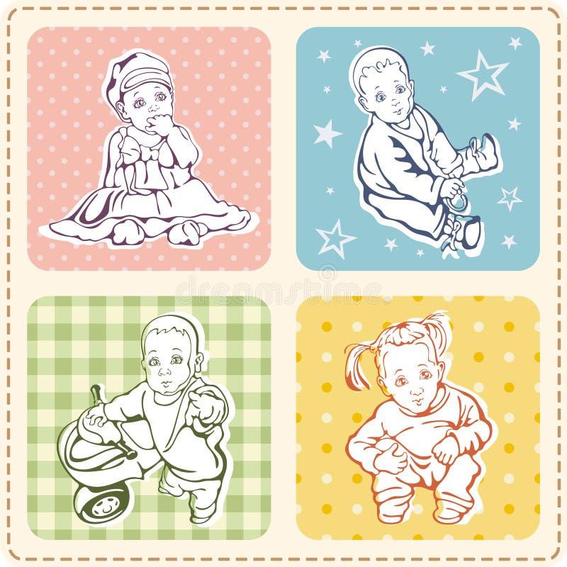 Illustrations mignonnes de chéri réglées illustration de vecteur