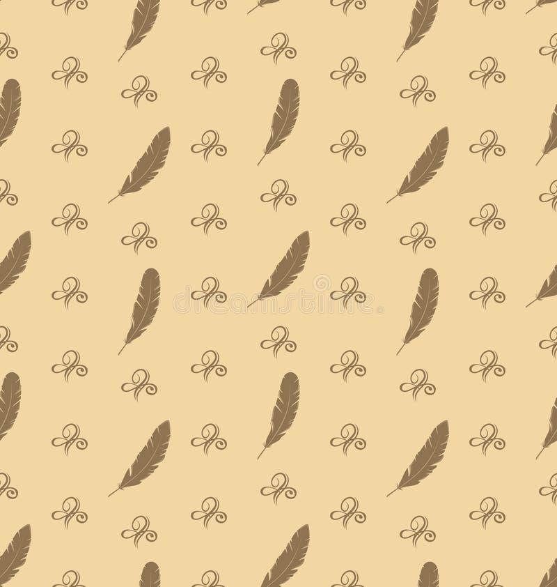 Illustrations-nahtloses Muster von Federn mit Verzierungs-Elementen stock abbildung